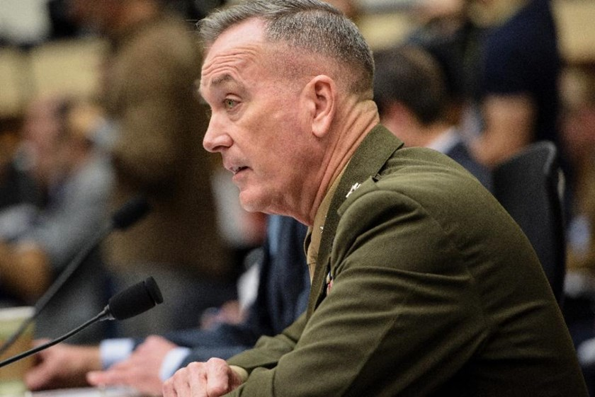 Chairman of the Joint Chiefs of Staff General Joseph Dunford, pictured December 1, 2015, said people in the West tend to overlook the power of IS on social media