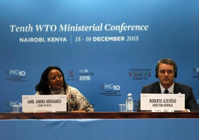 The Kenyan Foreign Affairs Cabinet Secretary Amina Mohamed (L) and the Director General of the World Trade Organization (WTO) Roberto Azevedo attend the opening of the World Trade Organization (WTO) Summit in Nairobi, Kenya December 15, 2015.
