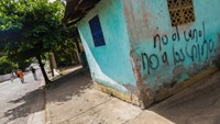 "Graffiti reading ""No canal, no Chinese"" on the wall of a house in Veracruz, near the town of Rivas, Nicaragua, where many on the outskirts fear they will be uprooted to make way for a massive canal project"
