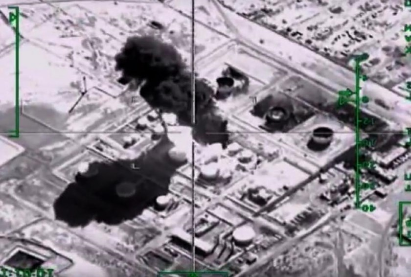 A video image of a Russian air strike on an Islamic State group oil-processing facility at an unidentified location in Syria