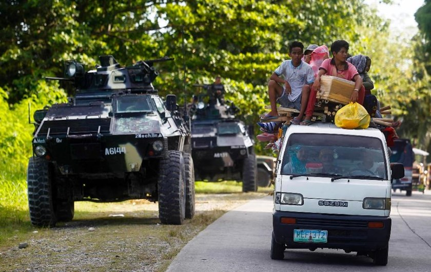 An armoured personnel carrier in Kauran, Ampatuan in the southern Philippines province of Maguindanao on December 24, 2015
