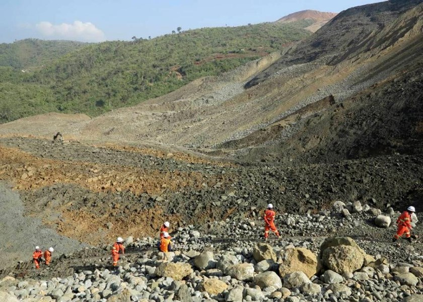 A wall of rocks, mud and debris careered down a hillside in Hpakant, Kachin State, the war-torn area that is the epicentre of Myanmar's secretive billion dollar jade industry