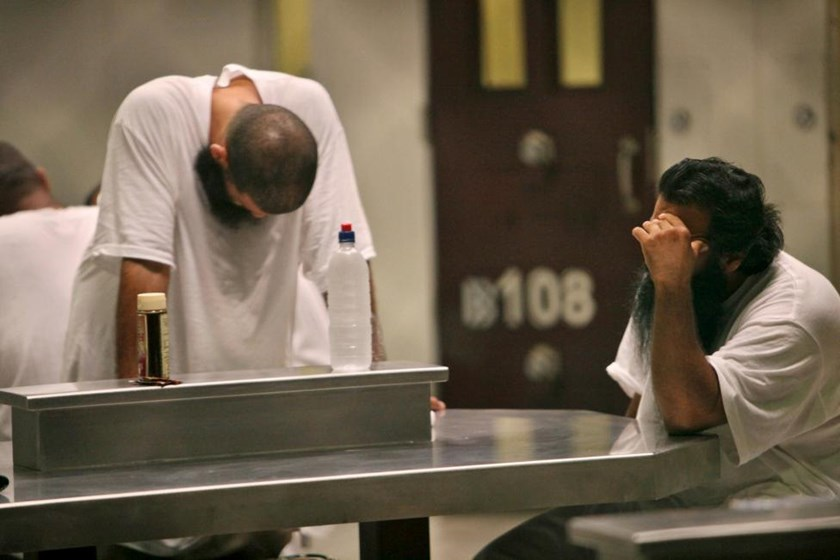 Detainees are seen inside the Camp 6 detention facility at Guantanamo Bay U.S. Naval Base in Cuba in this May 31, 2009 file photo.