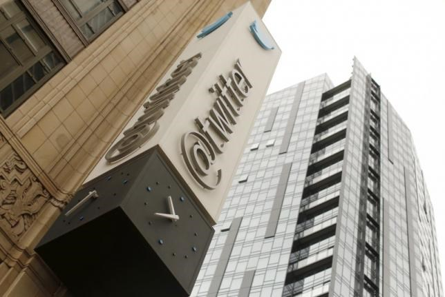 The Twitter logo is shown at its corporate headquarters in San Francisco, California April 28, 2015.