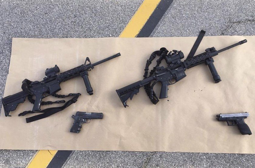 Weapons confiscated from last Wednesday's attack in San Bernardino, California are shown in this San Bernardino County Sheriff Department handout photo from their Twitter account released to Reuters December 3, 2015.