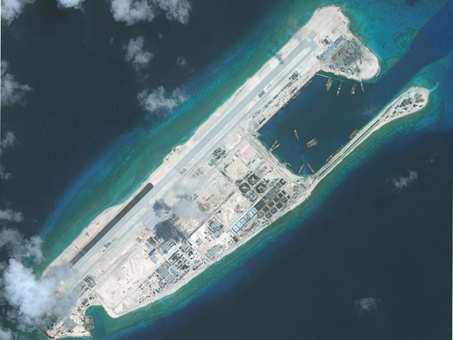 The illegally-built airport on Fiery Cross island. Photo: AFP