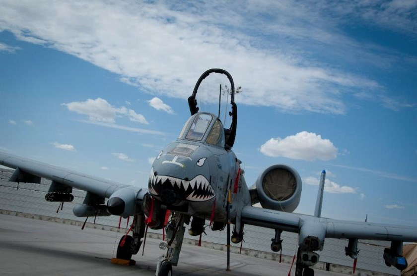 An A-10 Warthog sitting on the flightline at Kandahar Airfield, Afghanistan