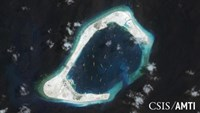 Subi reef, located in the Spratly Islands in the South China Sea, is shown in this handout Center for Strategic and International Studies (CSIS) Asia Maritime Transparency Initiative satellite image taken September 3, 2015 and released to Reuters October 27, 2015.
