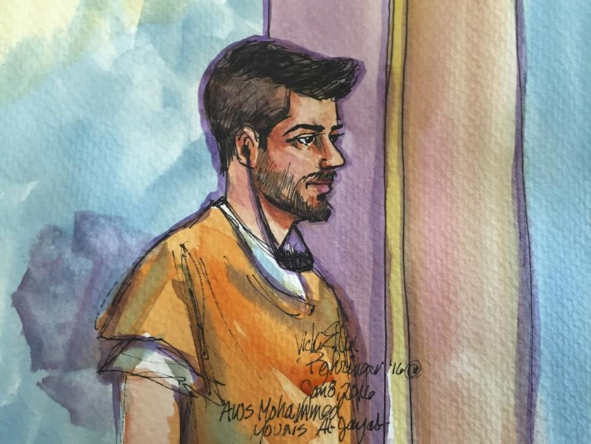 Aws Mohammed Younis al-Jayab is shown in this courtroom sketch appearing in federal court in Sacramento, California January 8, 2016.