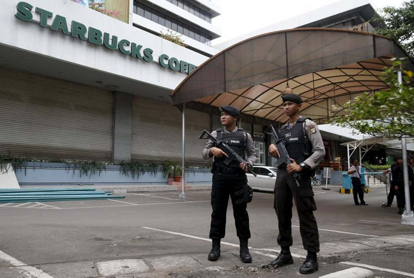 Indonesian police stand guard at the site of this week's militant attack in central Jakarta, Indonesia January 16, 2016.