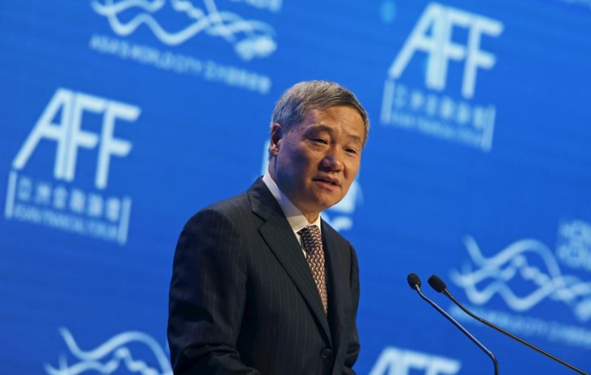 China Securities Regulatory Commission Chairman Xiao Gang addresses the Asian Financial Forum in Hong Kong in this January 19, 2015 file picture.