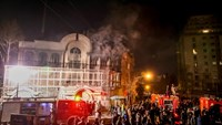 Iranian protesters set fire to the Saudi Embassy in Tehran during a demonstration against the execution of prominent Shiite Muslim cleric Nimr al-Nimr by Saudi authorities, on January 2, 2016