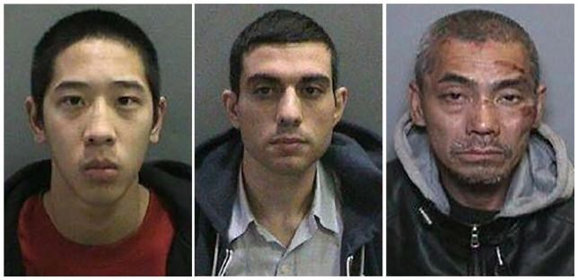Inmates Jonathan Tieu, 20, Hossein Nayeri, 37, and Bac Duong, 43, (L to R) are seen in an undated combination photo released by the Orange County, California, Sheriff's Department.