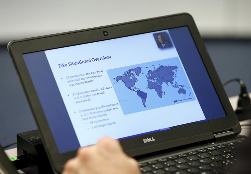A slide on the Zika cases distribution around the world is pictured during an information session for Members States at the World Health Organization Executive Board meeting in Geneva, Switzerland, January 28, 2016.