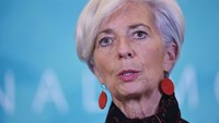IMF Managing Director Christine Lagarde speaking during a press conference at IMF headquarters in Washington, DC