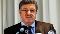 Salim al-Muslat, spokesman for the High Negotiations Committee (HNC), the main Syrian opposition group at the Geneva peace talks, attends a news conference in Geneva, Switzerland, January 31, 2016.