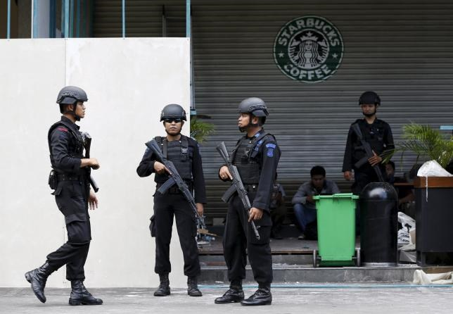Indonesian police stand guard at the site of a militant attack in central Jakarta, Indonesia in this January 16, 2016 file photo.