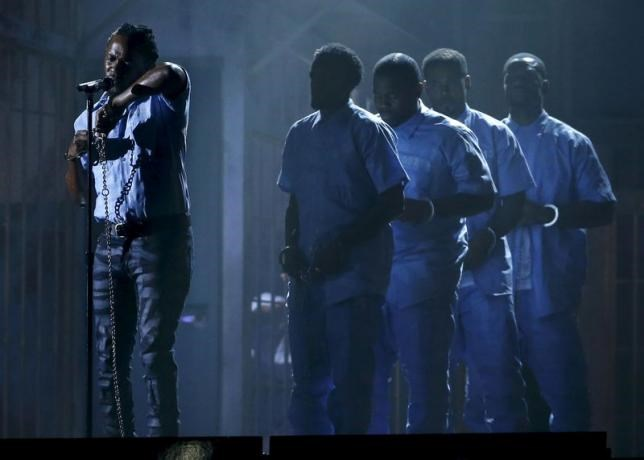 Kendrick Lamar performs a medley of songs at the 58th Grammy Awards in Los Angeles, California February 15, 2016.