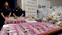Gel bra inserts containing concealed crystal methamphetamine are displayed at the Australian Federal Police headquarters in Sydney, on February 15, 2016