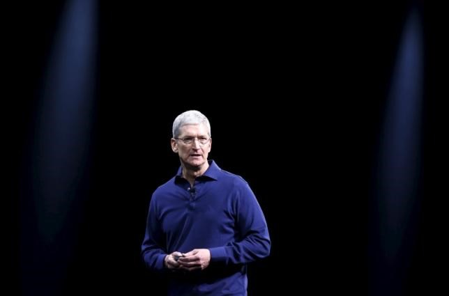 Apple CEO Tim Cook delivers his keynote address at the Worldwide Developers Conference in San Francisco, California June 8, 2015.