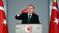 Turkish President Tayyip Erdogan makes a speech during a meeting in Ankara, Turkey February 17, 2016, in this handout photo provided by the Presidential Palace.