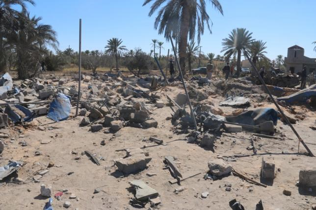 A view shows damage at the scene after an airstrike by U.S. warplanes against Islamic State in Sabratha, Libya in this February 19, 2016 handout picture.