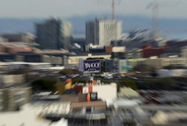 A sign advertising internet company Yahoo is pictured in downtown San Francisco, California February 4, 2016.