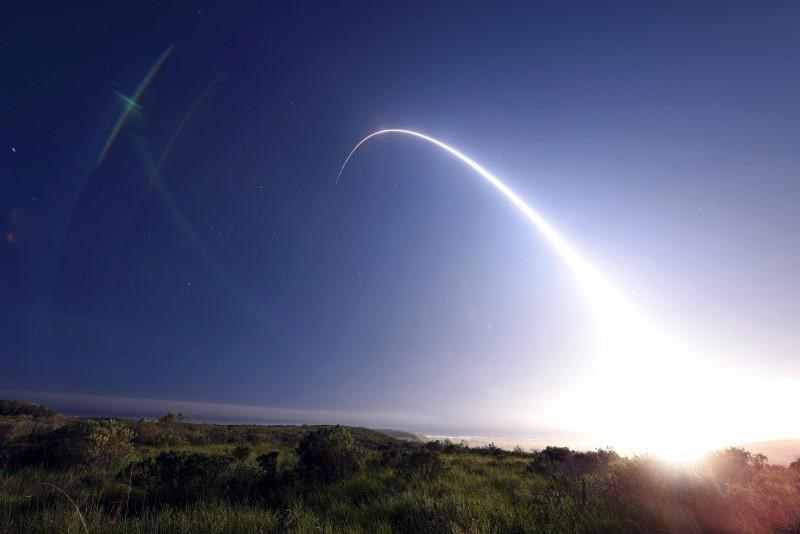 An unarmed Minuteman III intercontinental ballistic missile launches during an operational test from Vandenberg Air Force Base, California at 11:01 p.m. on February 25, 2016.