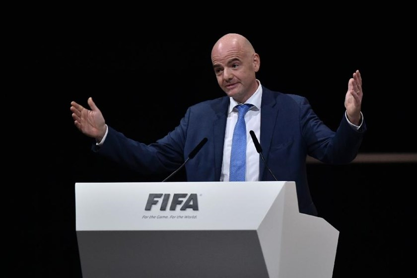 New FIFA president Gianni Infantino delivers a speech after winning the FIFA presidential election during the extraordinary FIFA Congress in Zurich on February 26, 2016