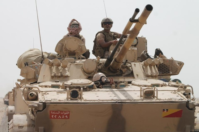 A tank of the Saudi-led coalition in the southern Yemeni port city of Aden on August 3, 2015