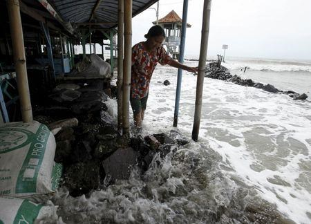 File photo shows a villager walking on a stone barrier as sea water reaches her house in Mayangan village in Subang.