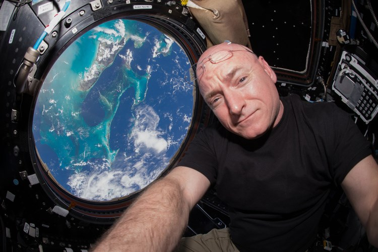 NASA astronaut Scott Kelly is seen inside the Cupola, a special module that provides a 360-degree viewing of the Earth and the International Space Station. on July 12, 2015.