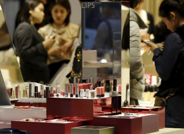 Lipsticks are displayed at a shop of Shiseido Co in Tokyo, Japan, March 7, 2016.