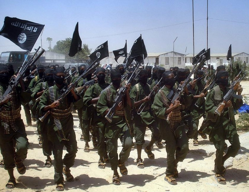 Islamist fighters loyal to Somalia's Shebab group perform military drills at a village in Lower Shabelle region, outside Mogadishu