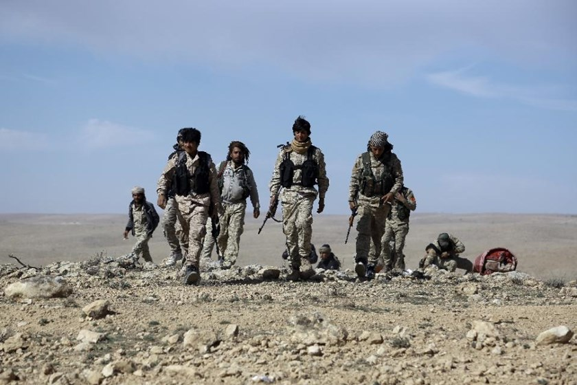 Fighters from the Syrian Democratic Forces gather in the northeastern Syrian province of Hasakeh on February 19, 2016
