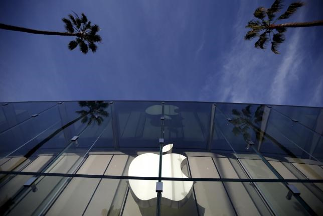 The Apple Store is seen in Santa Monica, California, United States, February 23, 2016.