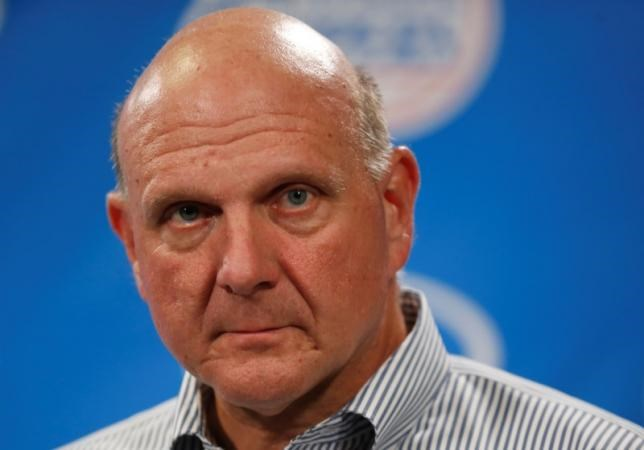 Steve Ballmer speaks at a news conference after being introduced at a fan event at the Staples Center in Los Angeles, California August 18, 2014.
