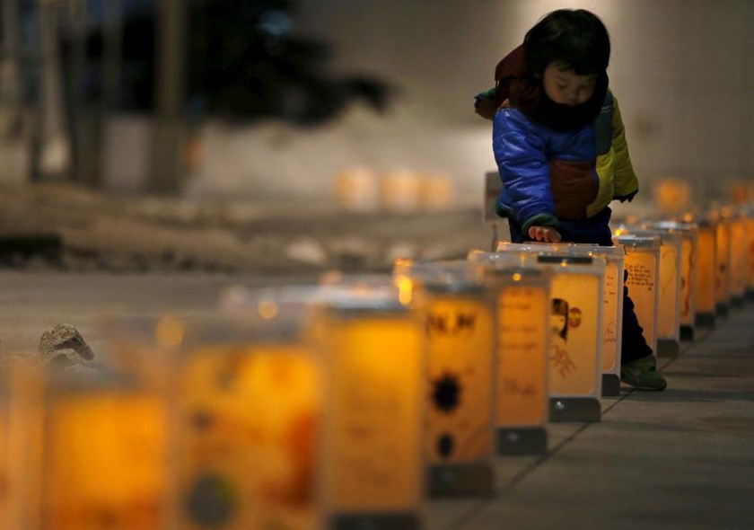 Lanterns from northern Japanese city Natori are illuminated during an event to pray for the reconstruction of areas devastated by the March 11, 2011 earthquake and tsunami