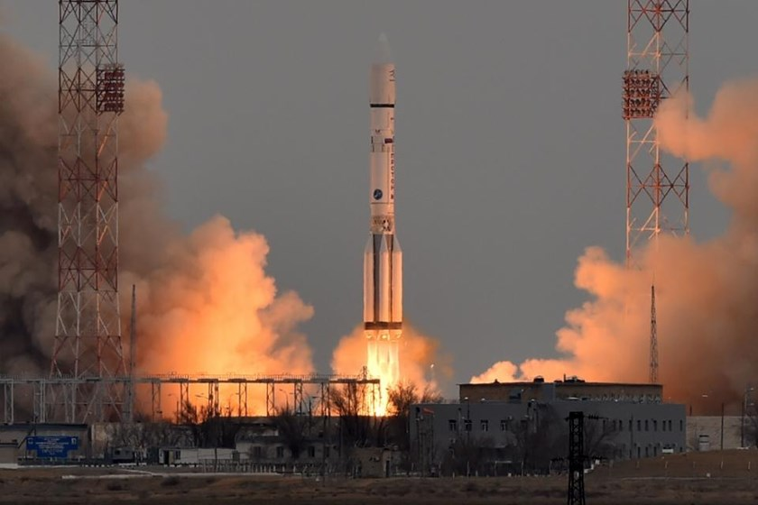 A Russian Proton-M rocket carrying the ExoMars 2016 spacecraft blasts off from the launch pad at the Russian-leased Baikonur cosmodrome on March 14, 2016