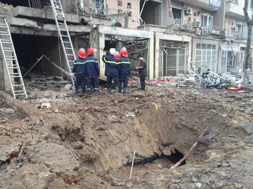 The explosion left a large crater in Van Phu residential area