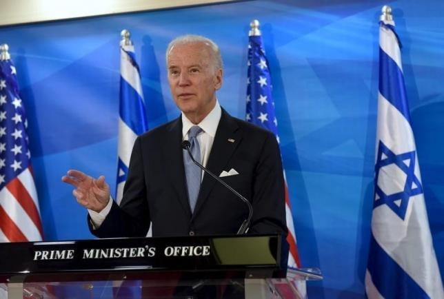 U.S. Vice President Joe Biden speaks as he delivers a joint statement with Israeli Prime Minister Benjamin Netanyahu during their meeting in Jerusalem March 9, 2016.