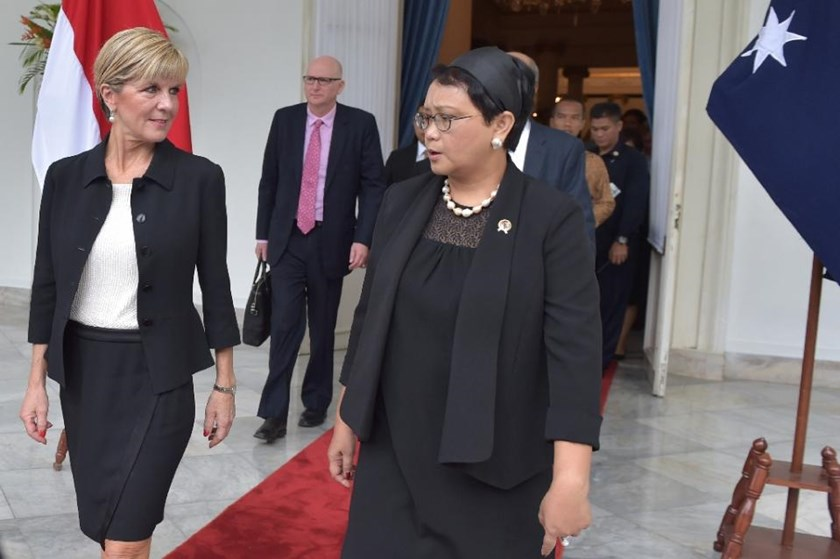 Indonesian Foreign Minister Retno Marsudi (R) said Jakarta had asked for clarification from the Chinese government about the incident at sea