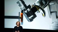 Lisa Jackson, Apple vice president for Environment, Policy and Social Initiatives, introduces a robot named Liam that deconstructs iPhones during an event at Apple headquarters in Cupertino, California March 21, 2016.