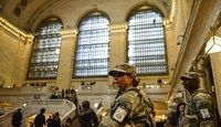 Members of the Joint Task Force Empire Shield patrol Grand Central Station in the Manhattan borough in New York, in this March 22, 2016, file photo.