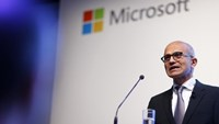 Microsoft CEO Satya Nadella holds a speech to present the companies new cloud strategy for Germany in Berlin, November 11, 2015.