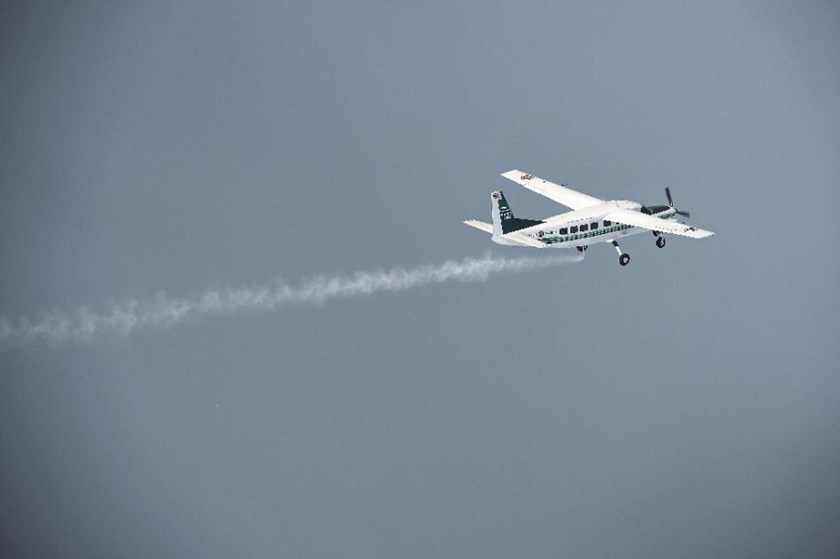 An aircraft from the Thai Department of Royal Rainmaking deposit a sodium chloride-based material above clouds in Nakhon Sawan in an effort to produce rain