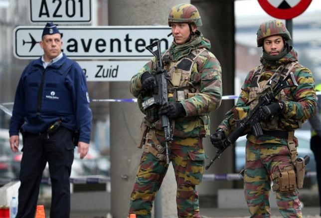 Belgian troops and police control a road leading to Zaventem airport following Tuesday's airport bombings in Brussels, Belgium, March 24, 2016.