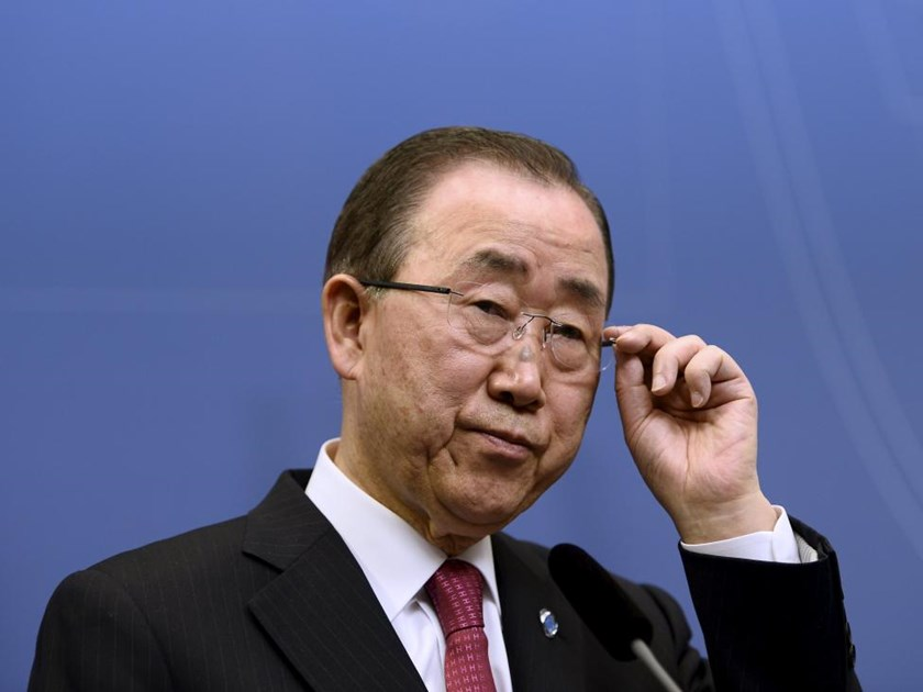United Nations Secretary General Ban Ki-moon holds a joint news conference with Swedish Prime Minister Stefan Lofven (not pictured) at the Swedish Government headquarters Rosenbad in Stockholm, Sweden, March 30, 2016.