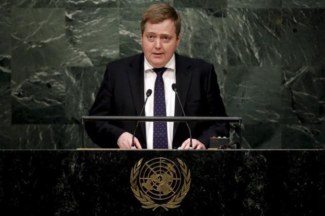 Iceland's Prime Minister Sigmundur Gunnlaugsson addresses a plenary meeting of the United Nations Sustainable Development Summit 2015