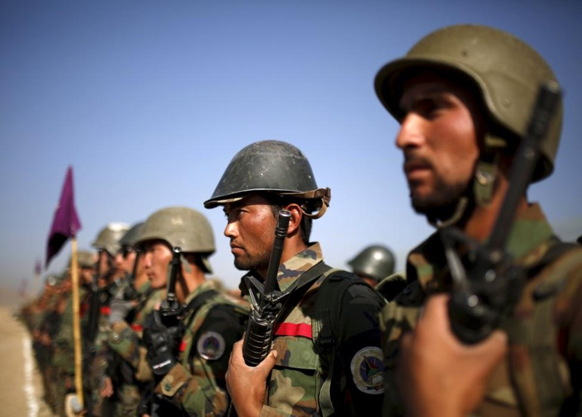 Afghan National Army (ANA) officers stand at attention during a training exercise at the Kabul Military Training Centre in Afghanistan, in this October 7, 2015 file photo.